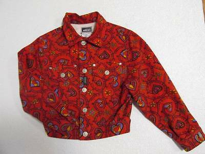 Vintage Young Versace Girl's Red Hear Star Jacket Coat Medusa Bronze buttons 6