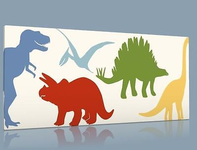 "Single Canvas Picture Wall Art Little Colorful  Dinosaur T Rex  8"" X 16""  New !!"