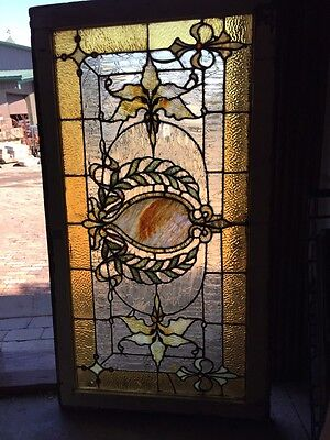 Sg 502 Antique Victorian Crackle Glass Stained Window