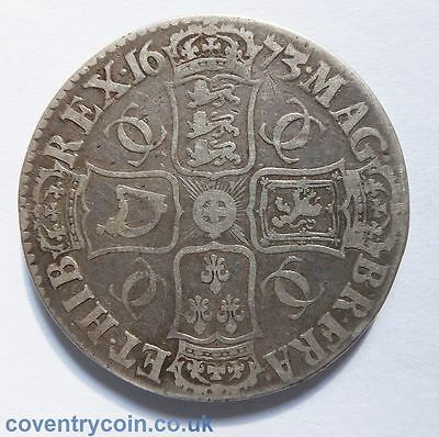 1673 Charles Ii Crown Coin Coinvicestmo Qvinto (  4614 )