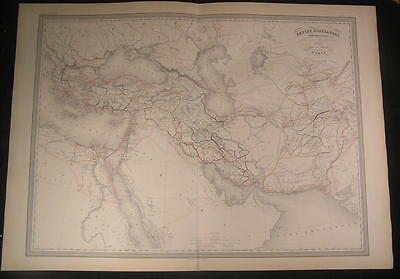 Empire of Alexander the Great Turkey 1860 large old antique engraved Dufour map
