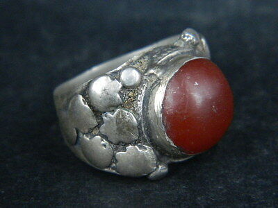 Ancient Silver Ring With Stone Post Medieval 1800 AD  #STC162