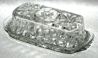 Anchor Hocking Early American Pressed Glass Covered Butter Dish, Star of David