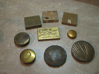 VTG LOT Brass/Gold COSMETIC POWDER COMPACTS Pill Boxes MAX FACTOR/COTY/PIVERS