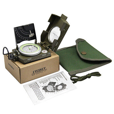 New Army Green Professional Military Army Metal Sighting Compass w/Inclinometer