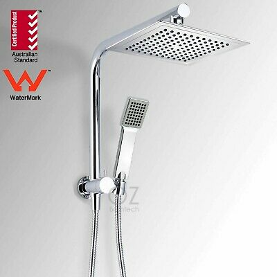 WELS 2 in 1 Square 9'' Twin Shower Head Handheld Diverter Gooseneck Wall Arm Set