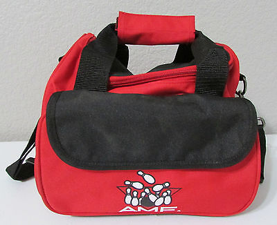 AMF Red Black One Ball Bowling Carry Bag With Shoulder Strap Accessory Pocket