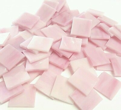 Stained Glass Squares Pink  20x20x3mm - 200grams