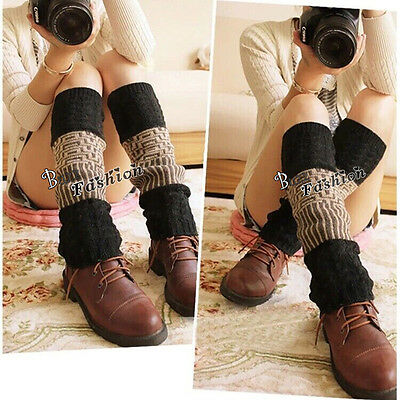 Mixed Colors Women Winter Warm Leg Warmers Cable Knit Knitted Crochet Long Socks
