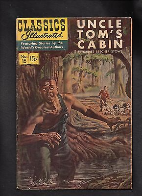 Classics Illustrated #15 Vg  Hrn166  (Uncle Tom's Cabin) Harriet Beecher Stowe