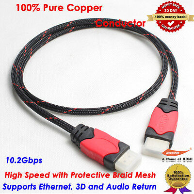 5-Pack HDMI Cable V1.4 3D High Speed with Ethernet HEC Full HD 1080p Gold Plated