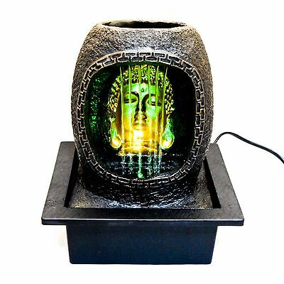 Indoor Buddha Table Top Waterfall Water Feature & Coloured LED Lighting 8125