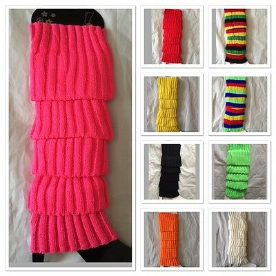 LEG WARMERS Knitted Neon Fluro Dance Party Knit 80s Legwarmers