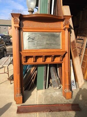 Bab One Antique Oak Quartersawn Carved Fireplace Mantle