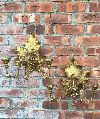 Antique C1900 Gold Gilded Carved Wood & Metal Italian Leaf Form Wall Sconces