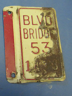1953 Boulevard Bridge license plate attachment from Virginia mounts on side