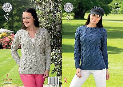 KING COLE 4346 ARAN KNITTING PATTERN SIZE 32-44  NOT the  FINISHED GARMENTS