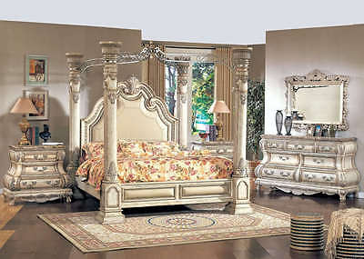 Traditional King White Leather Poster Canopy Bed 5 pc Bedroom Set w Marble Tops