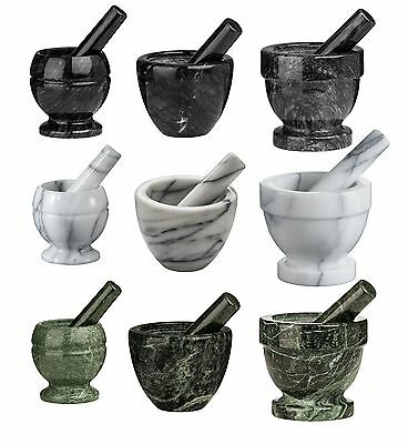 Marble Mortar And Pestle Herbs Spice Manual Crusher Grinder Black Green White
