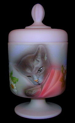 Fenton Glass ~ Pink / Violet Color ~ Glass Chessie Cat Covered Box  limited 3/8