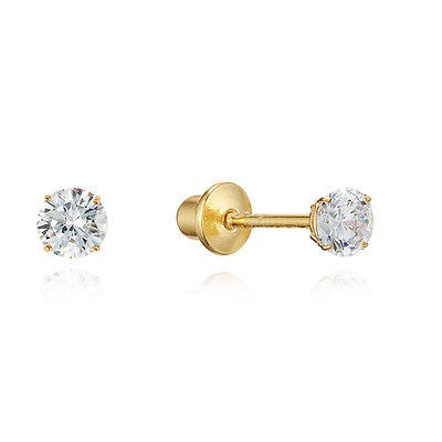 14k Gold Plated Sterling Silver 2mm Clear Stud Children Back S Earrings