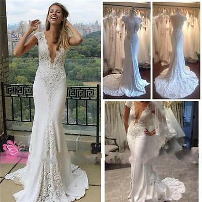 Sexy V Neck Lace Long Backless Wedding Dress Bridal Gown Custom Size 2-6+++