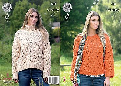 KING COLE 4385CHUNkY KNITTING PATTERN SIZE 32-42  NOT the  FINISHED GARMENTS