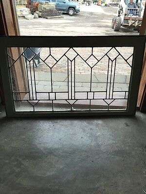 "Sg 533 Antique Leaded Glass Transom Window 21.5"" X 36.5"""