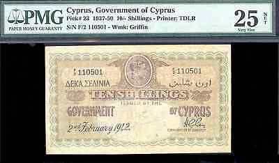 bucksless 1662:GOVERNMENT OF CYPRUS 10 SHILLINGS 1942 PMG25 NET, P-23