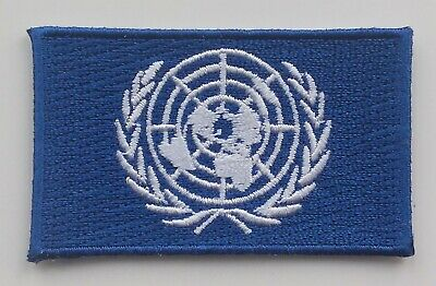 UNITED NATIONS FLAG PATCH Embroidered Badge 3.8cm x 6cm Nations Unies UN 联合国
