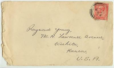 1916 Great Britain 1 Penny perfin HB cover to Wichita Kansas