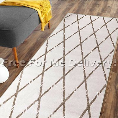 DENVER TRIBAL DIAMOND CREAM BEIGE MODERN FLOOR RUG RUNNER 80x300cm **FREE DELIVE