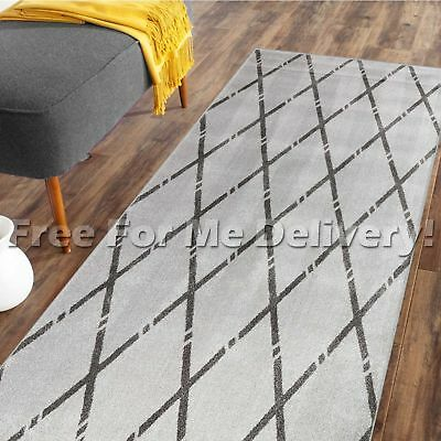 DENVER TRIBAL DIAMOND GREY BLACK MODERN FLOOR RUG RUNNER 80x300cm **FREE DELIVER