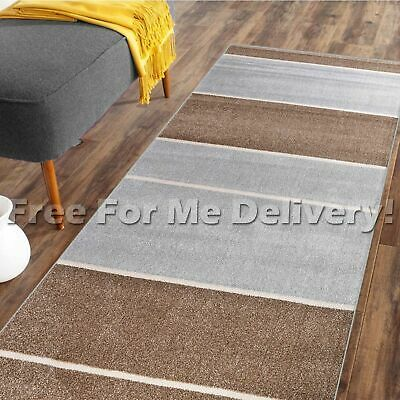 DENVER THICK STRIPES BEIGE GREY MODERN FLOOR RUG RUNNER 80x300cm **FREE DELIVERY