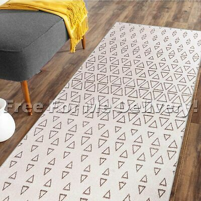 DENVER TRIBAL TRIANGLES CREAM MODERN FLOOR RUG RUNNER 80x300cm **FREE DELIVERY**