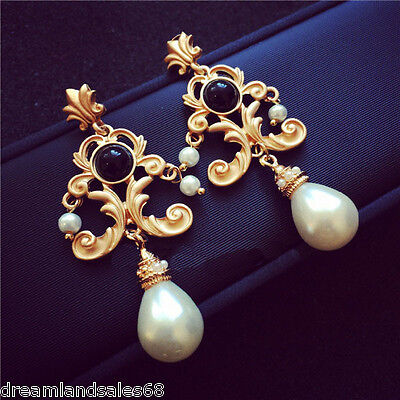Antique Baroque Brocade Scroll Work Faux Pearl Dangle Chandelier Earrings Gold