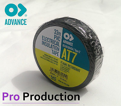 Advance AT7 19mm x 33m PVC Electrical  Insulation Tape - Black