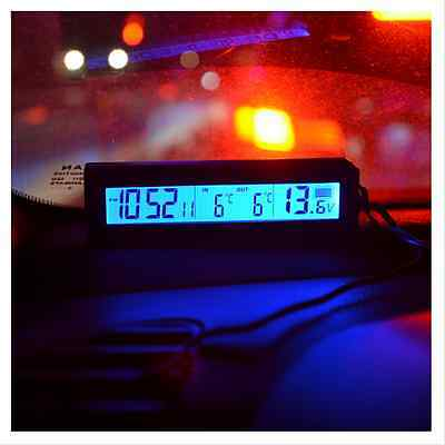 4In1 Car Thermometer In/Out Clock Digital Blue/Orange Backlit Backlight IceAlert