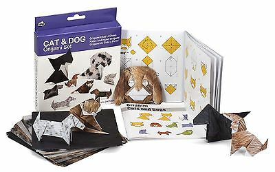 Cat and Dog Origami Craft Set 100 Sheets Printed Paper and Instructions