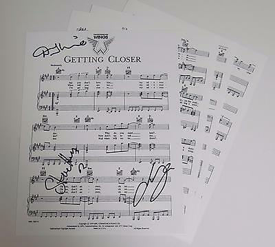 "PAUL McCARTNEY & WINGS Signed Autograph ""Getting Closer"" Sheet Music by 3"