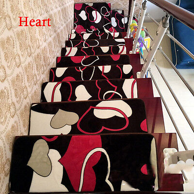 13pcs 20*60cm Heart Floral Treads Non-slip Carpet Staircase Mats Rugs Step Pads