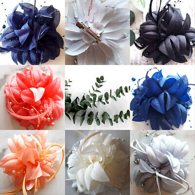 Hair Flower Fascinator Brooch Corsage Hair Accessory Clip Pin New All Colours 1