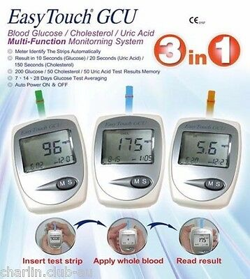 EasyTouch 3 in 1 - For Glucose, Cholesterol, Uric Acid Meter Monitoring System