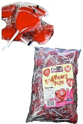 Red Heart Lollipops 100 Pieces Wrapped Bulk Lollies Party Favour Sweets Weddings