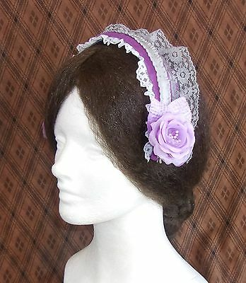 Lovely Orchid Lady's Headpiece, Civil War Era Reproduction Coif, Theatre, Reenac