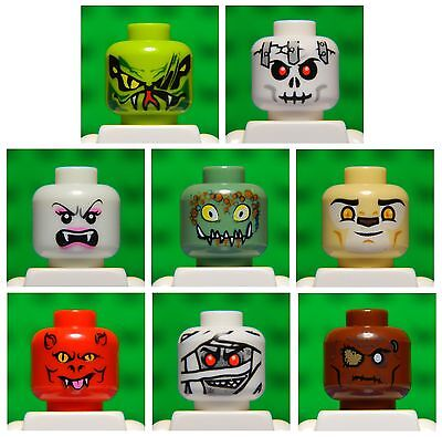 Lego HEADS for minifigure # pack of 8 # monster vampire zombie evil mummy