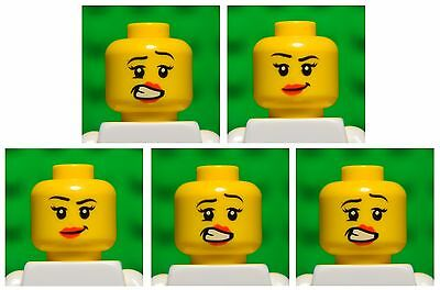 Lego HEADS dual sided # pack of 5 # girl princess woman female lips #1349