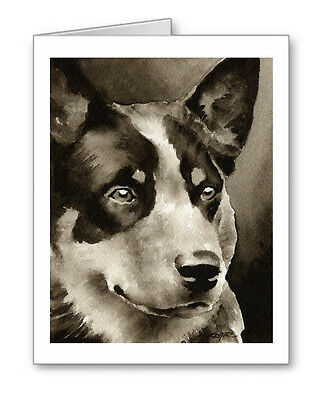 AUSTRALIAN CATTLE DOG note cards by watercolor artist DJ Rogers