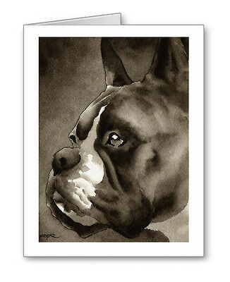 BOXER note cards by watercolor artist DJ Rogers