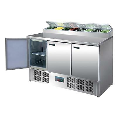 Polar 3 Door Salad and Pizza Prep Counter Stainless Steel 390Lt Salad Bar Sushi
